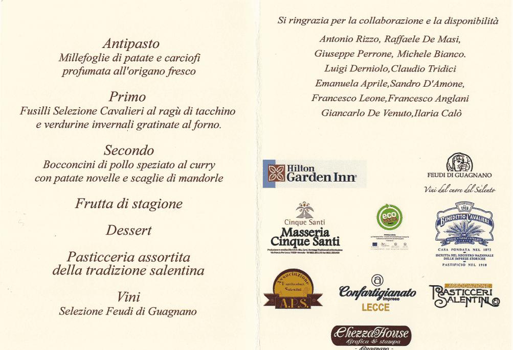 menu cena di natale hotel garden hilton lecce 2014