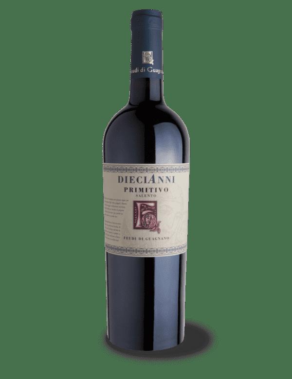 vino rosso diecianni primitivo feudi di guagnano