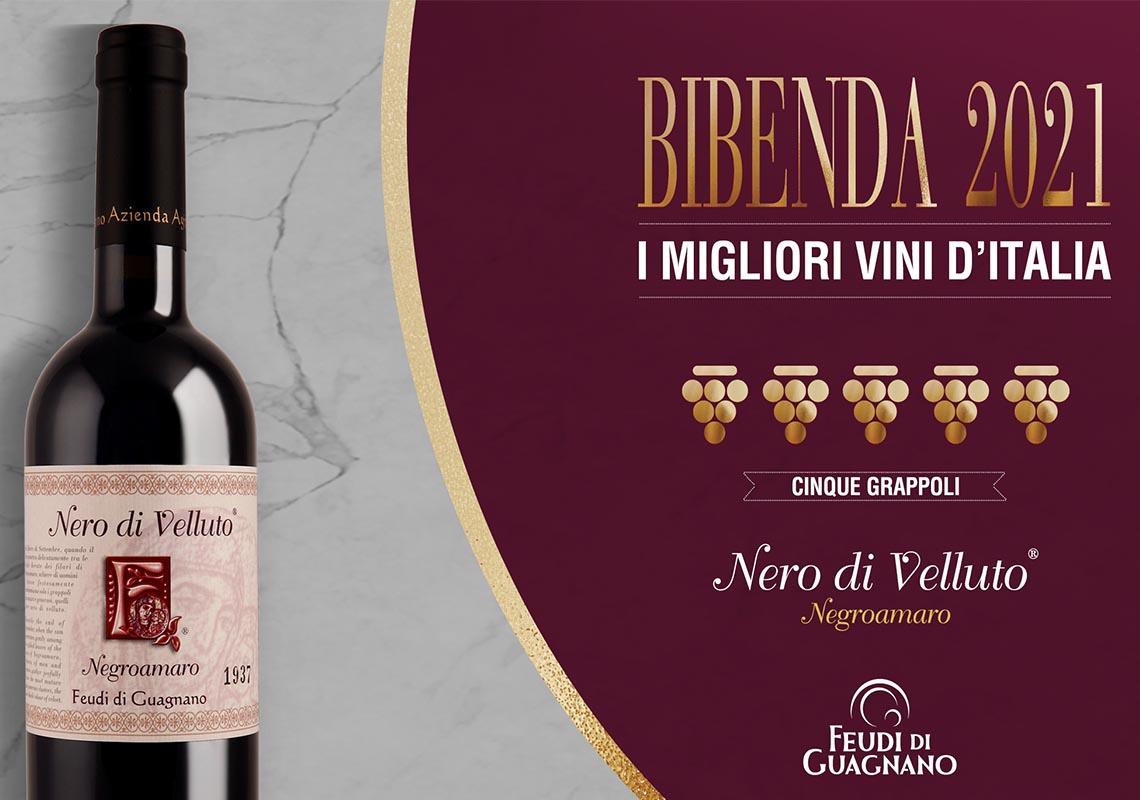 Per il quinto anno consecutivo Premio 5 Grappoli Bibenda al Nero di Velluto