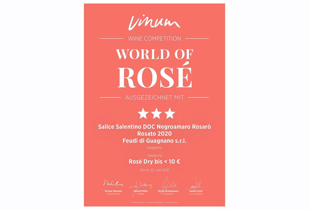 """World of Rosé"": tre stelle al Rosarò vendemmia 2020"